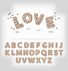 Comic cartoon chocolate with candy heart alphabet vector image