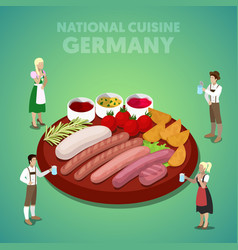 isometric germany national cuisine with sausage vector image