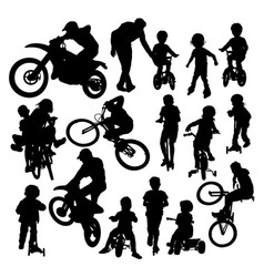 Learning Activities and Play Bike Silhouettes vector image vector image