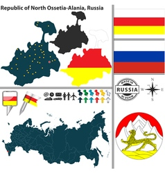 Map of Republic of North Ossetia Alania vector image