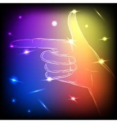 Neon hand left vector