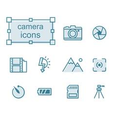 Thin line icons set Camera vector image vector image