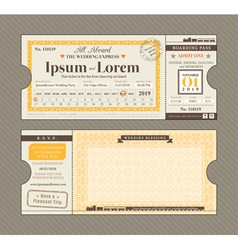 Train Ticket Wedding Invitation Design Template vector image vector image