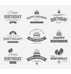 Black Birthday Labels Set vector image vector image