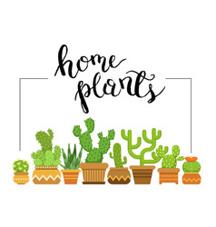 home plants framed with home vector image