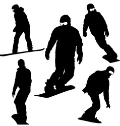 Set snowboarders silhouettes vector image vector image
