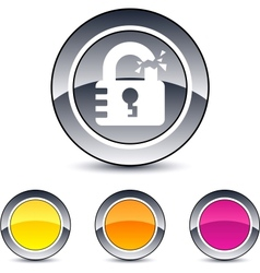 unlock round button vector image