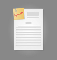 Blank paper sheet with attach note with important vector
