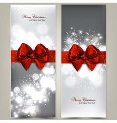 Greeting cards with red bows and copy space vector image vector image