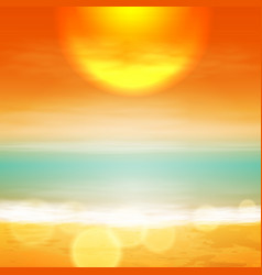 Sea sunset with the sun light on lens vector