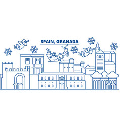 spain granada winter city skyline merry vector image vector image