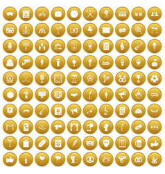 100 events icons set gold vector