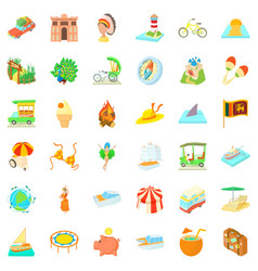 Adventure travel icons set cartoon style vector