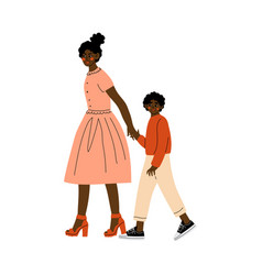 african american mother leading her son hand vector image