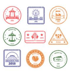 Amusement park stamps set vector