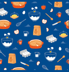 apple pie ingredients pattern on blue background vector image