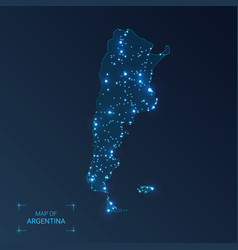 Argentina map with cities luminous dots - neon vector