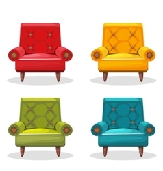 Armchair soft colorful homemade set 4 vector