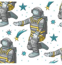 astronaut seamless pattern vector image