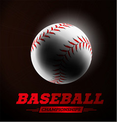 Baseball ball in the backlight on black background vector