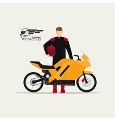 Biker standing with motorcycle vector