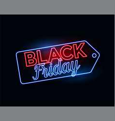 black friday tag in glowing neon lights vector image