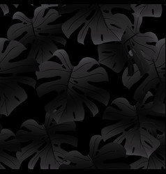 black seamless pattern black monstera leaves vector image