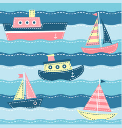 Boats on the sea waves vector