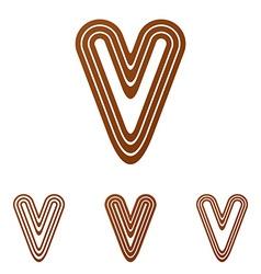 Brown line v logo design set vector image