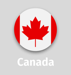 Canada flag round icon with shadow vector