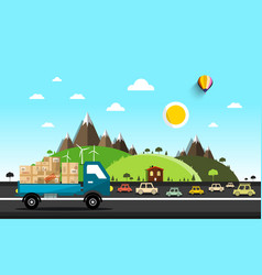 cars on road natural landscape vector image