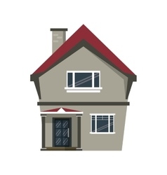 cartoon american house domestic chimney vector image