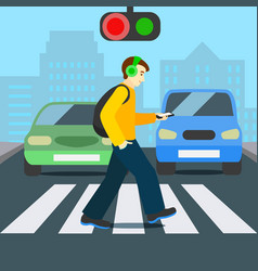 cartoon color character person pedestrian with vector image