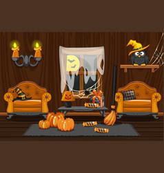 cellar house interior wooden room vector image