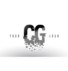 Cg c g pixel letter logo with digital shattered vector
