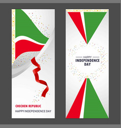 chechen republic happy independence day confetti vector image