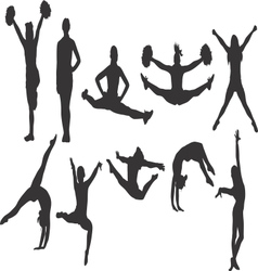 Cheerleader and Gymnastics Silhouettes vector