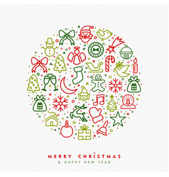 Christmas and new year outline icon greeting card vector