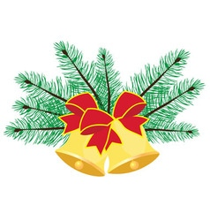 Christmas bells branches vector image