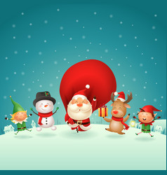 christmas friends celebrate holidays outside vector image