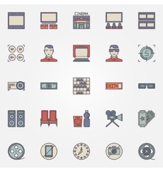 Cinema colorful icons vector image