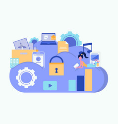 cloud security concept cloud storage cloud vector image
