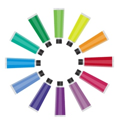 color tubes on white background vector image