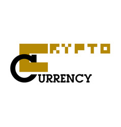Color vintage cryptocurrency emblem vector