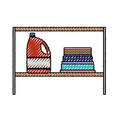 Colored crayon silhouette of rack with bleach vector