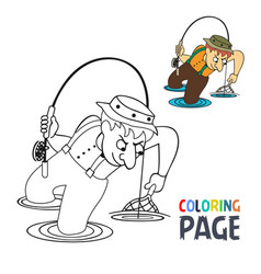 coloring page with fishing man cartoon vector image