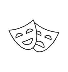 Comedy and tragedy masks linear icon vector