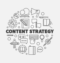 Content strategy round concept line vector