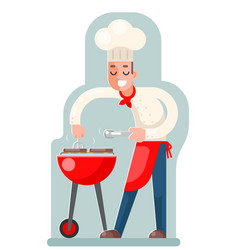 cook cooks grill meat flat design vector image