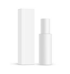 Cosmetic bottle with paper box mockup isolated vector